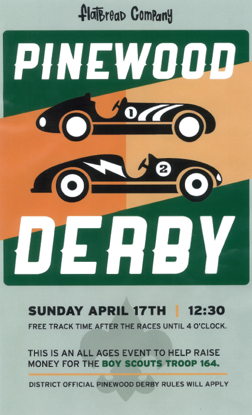 Pinewood Derby Fundraiser Flyer